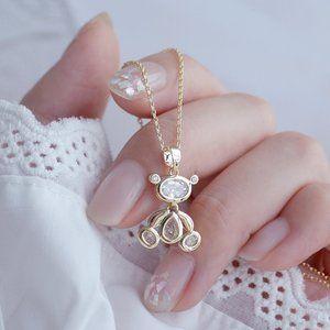NEW 14K Gold Plated Diamond Bear Necklace